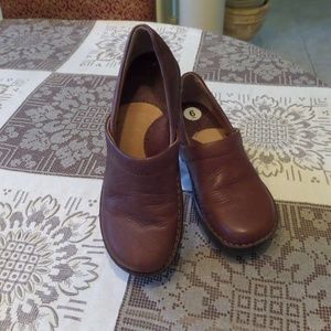 Born Brown Leather Clog Size 6M